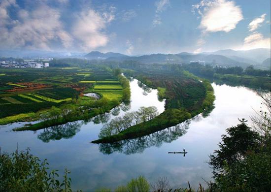 后参观【月亮湾】赏油菜花(拍照时间30分钟),因江中有一江心洲如一